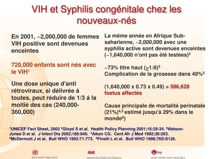 VIH et Syphilis congénitale chez les nouveaux-nés