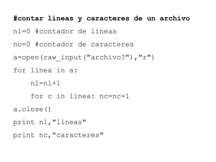 #contar lineas y caracteres de un archivo