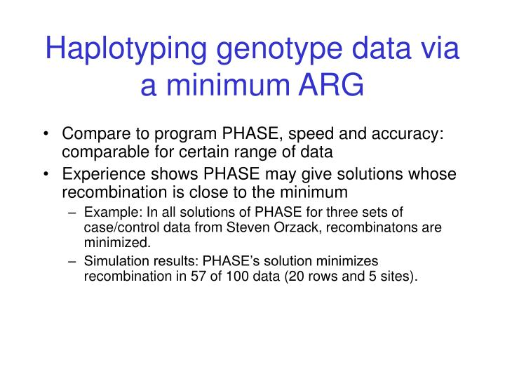 Haplotyping genotype data via a minimum ARG