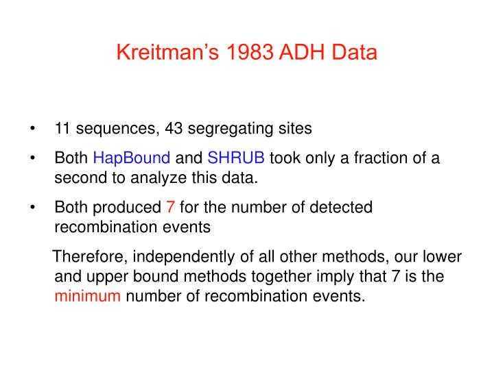 Kreitman's 1983 ADH Data