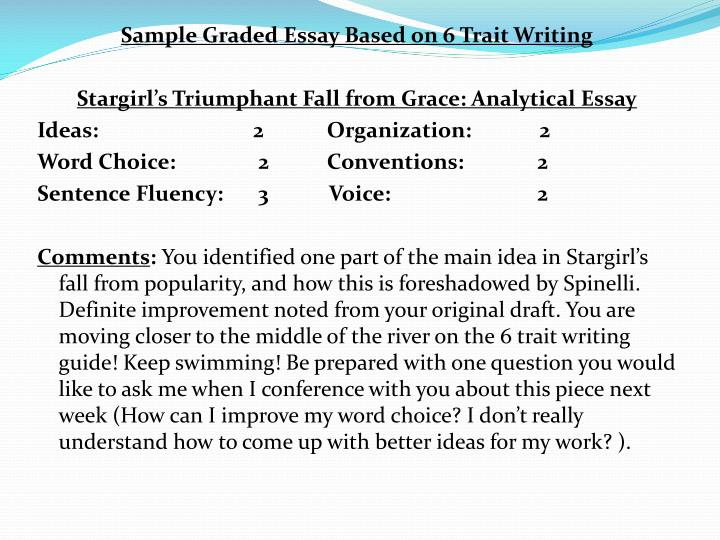 Sample Graded Essay Based on 6 Trait Writing