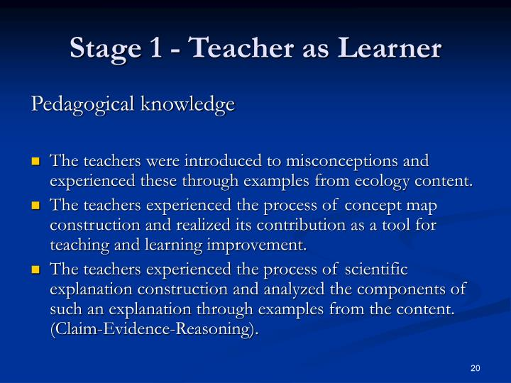 Stage 1 - Teacher as Learner