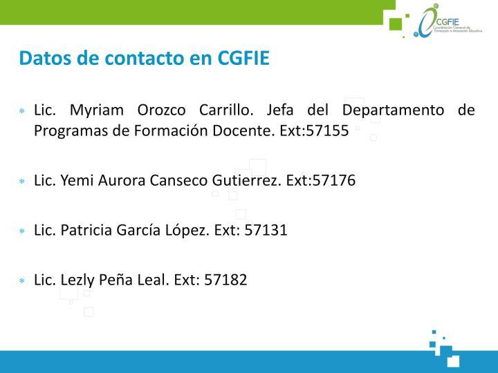 Datos de contacto en CGFIE