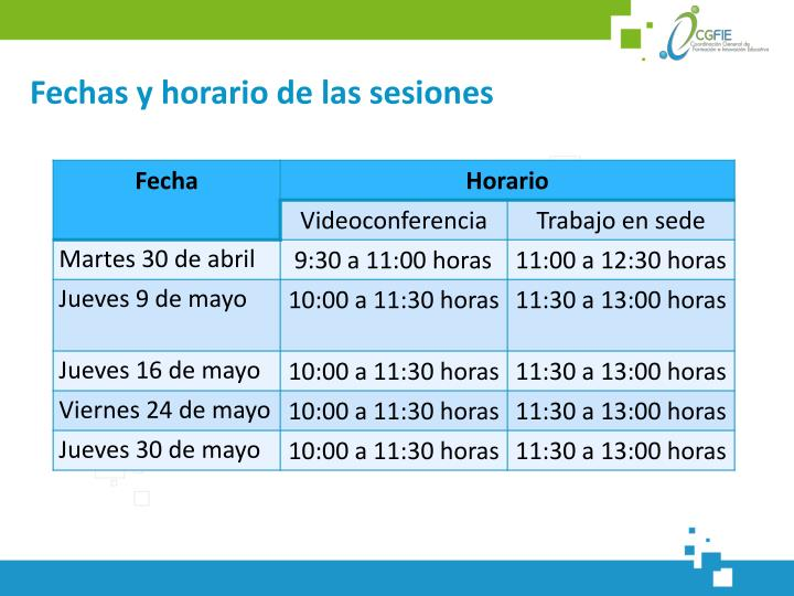 Fechas y horario de las sesiones