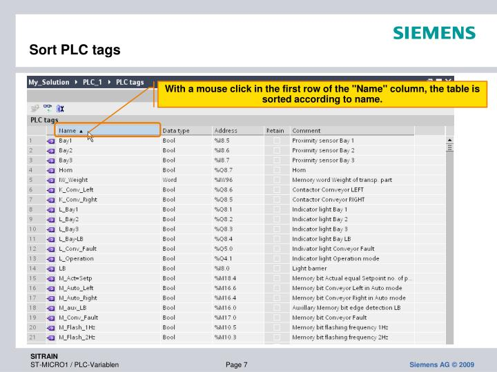 Sort PLC tags