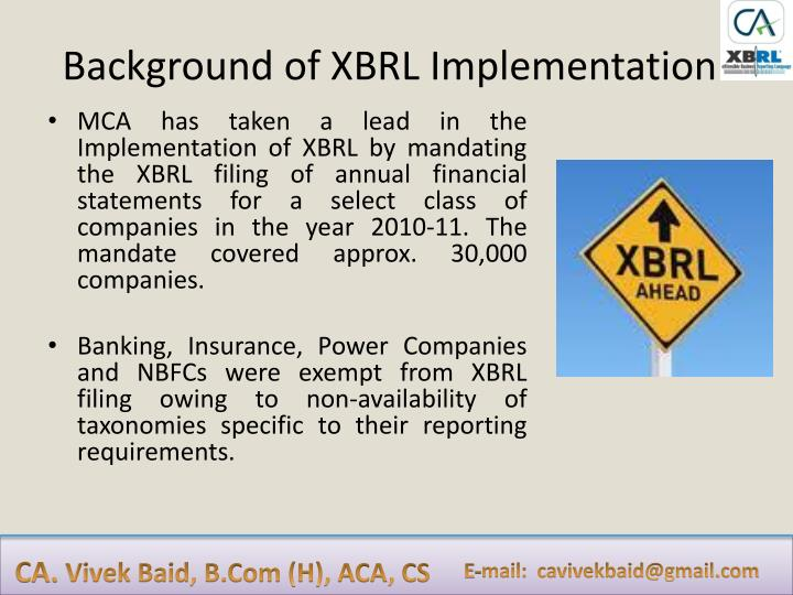Background of XBRL Implementation