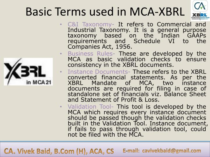 Basic Terms used in MCA-XBRL