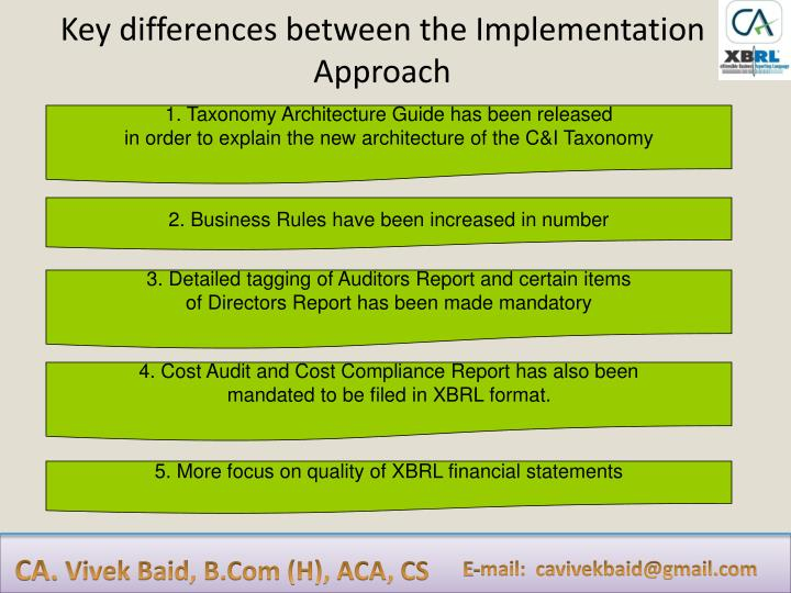 Key differences between the Implementation Approach