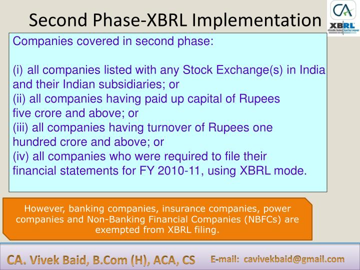 Second Phase-XBRL Implementation