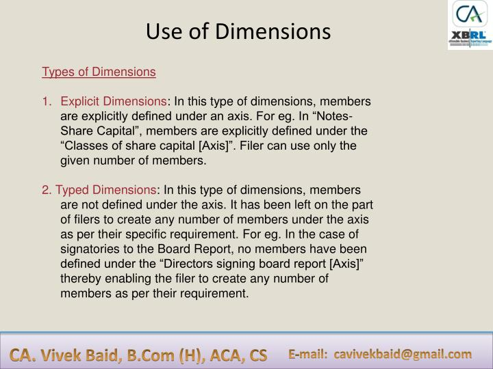 Use of Dimensions