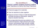 key condition 4 district leaders support school leaders and teachers to carry out key practices