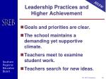 leadership practices and higher achievement