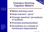 teachers working together matters
