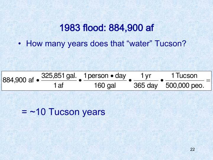 1983 flood: 884,900 af