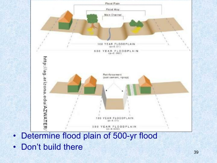 Determine flood plain of 500-yr flood