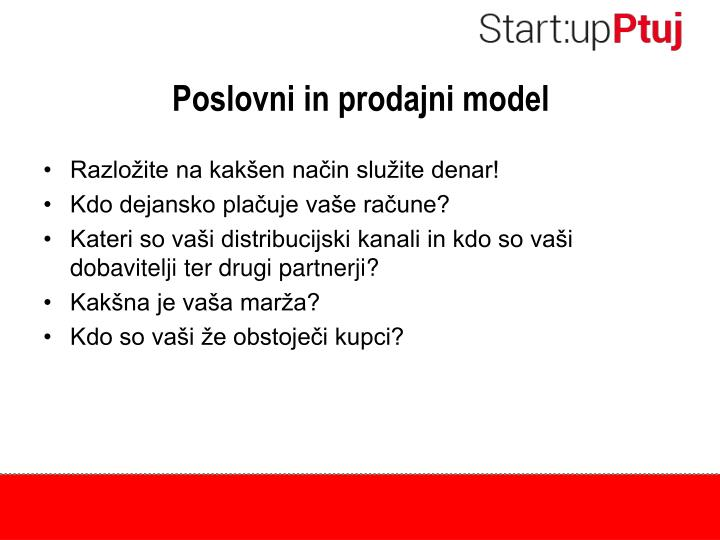 Poslovni in prodajni model