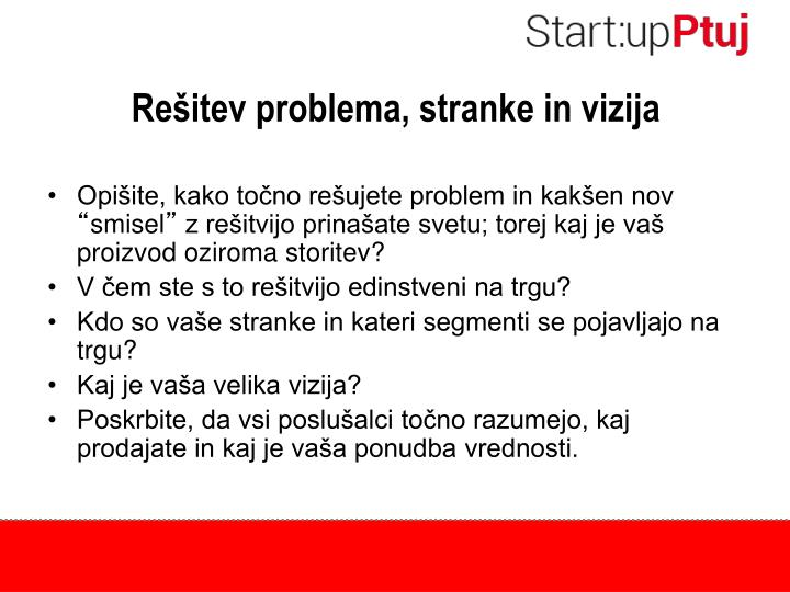 Re itev problema stranke in vizija