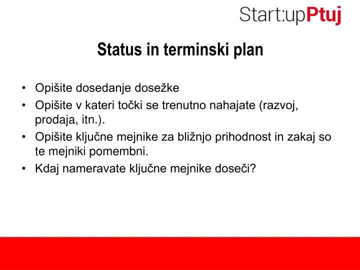 Status in terminski plan