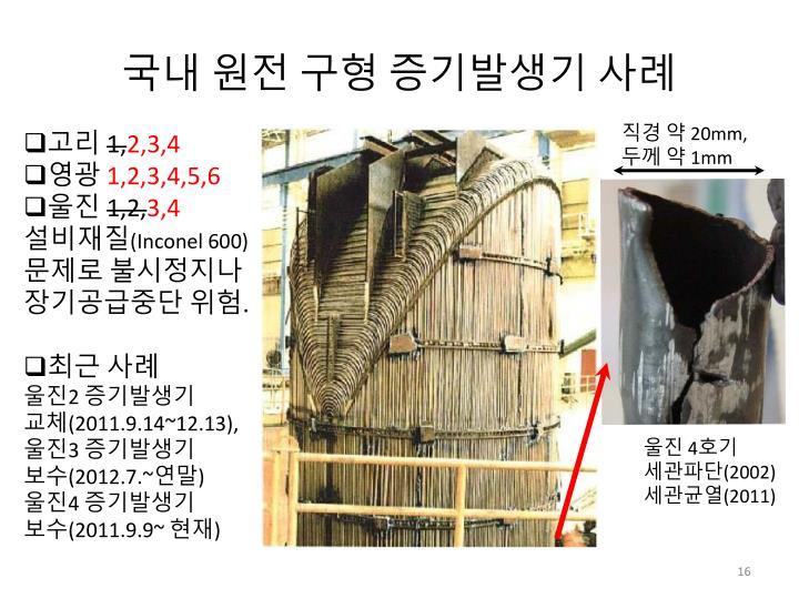 국내 원전 구형 증기발생기 사례