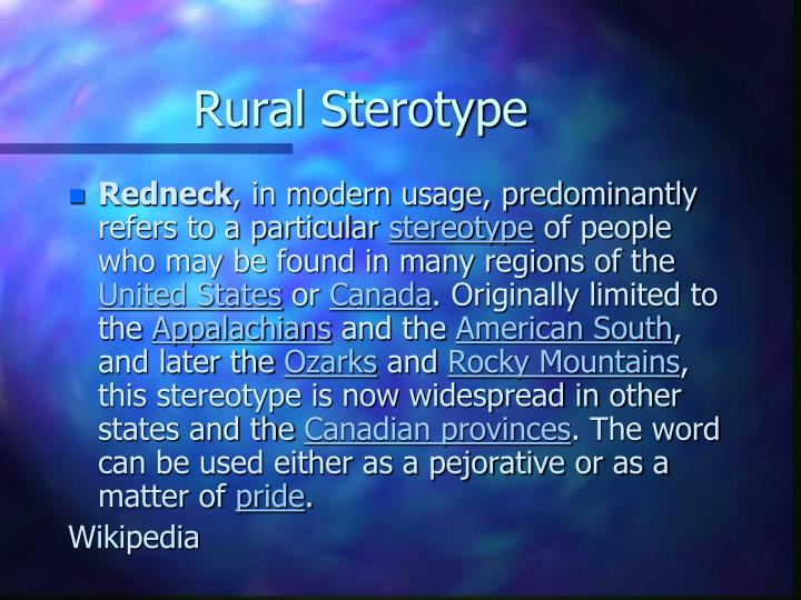 Rural Sterotype