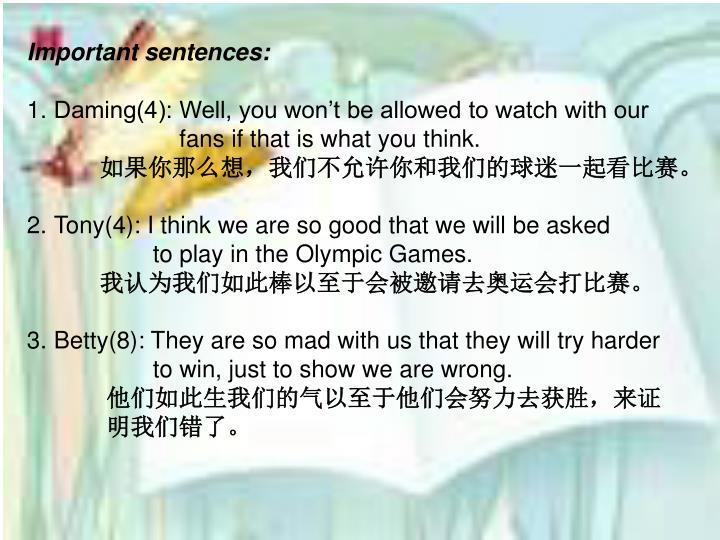 Important sentences: