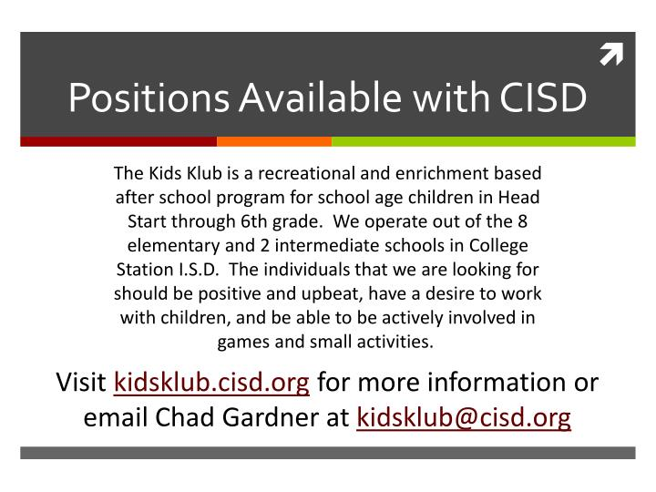 Positions Available with CISD