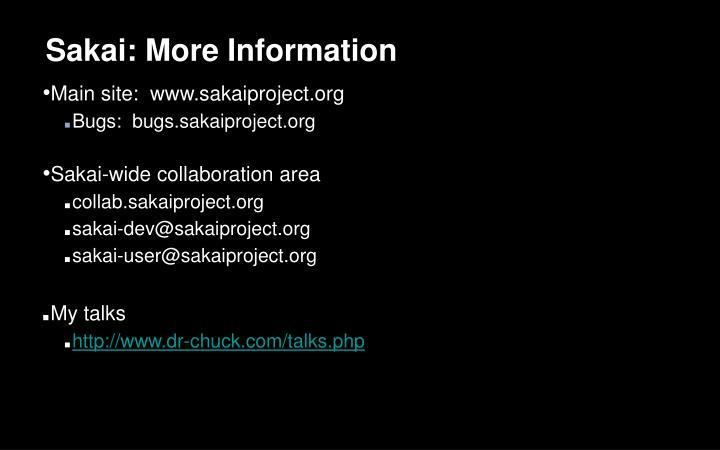 Sakai: More Information
