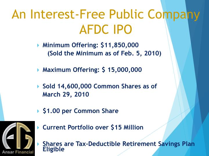 An Interest-Free Public Company