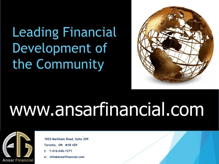 Leading Financial Development of the Community