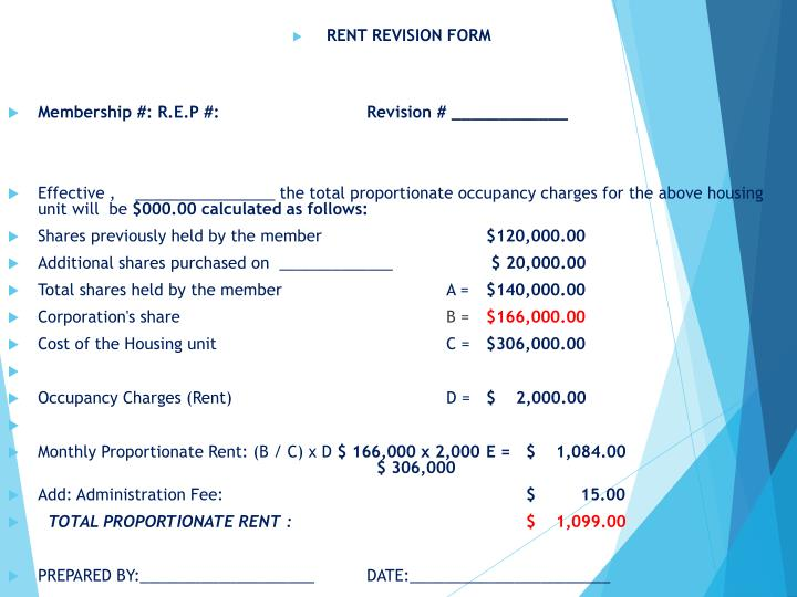 RENT REVISION FORM