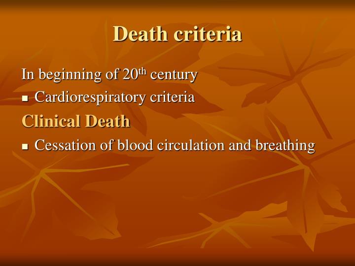 Death criteria