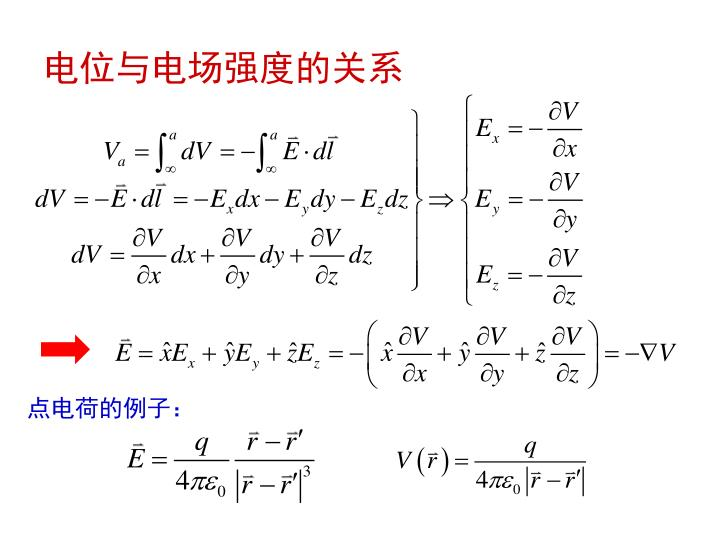 电位与电场强度的关系