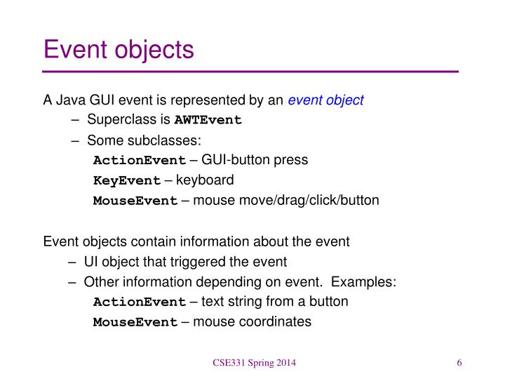 Event objects