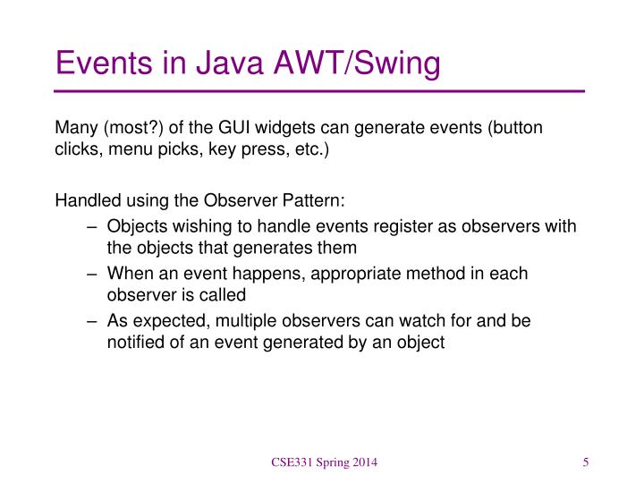 Events in Java AWT/Swing