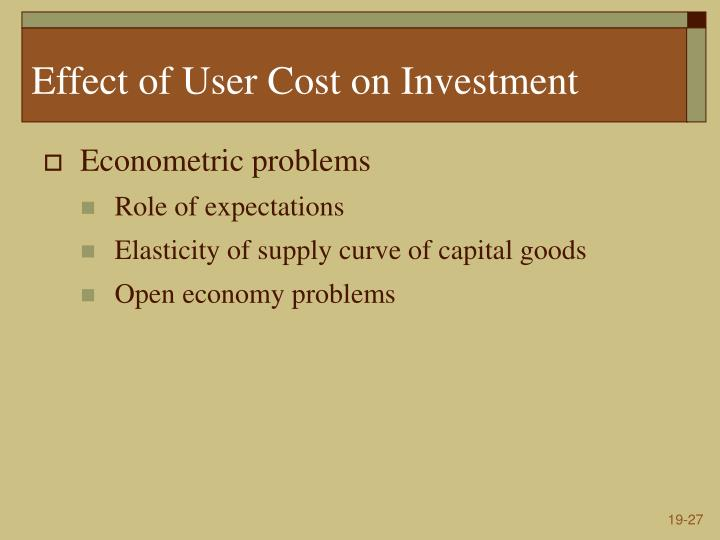 Effect of User Cost on Investment