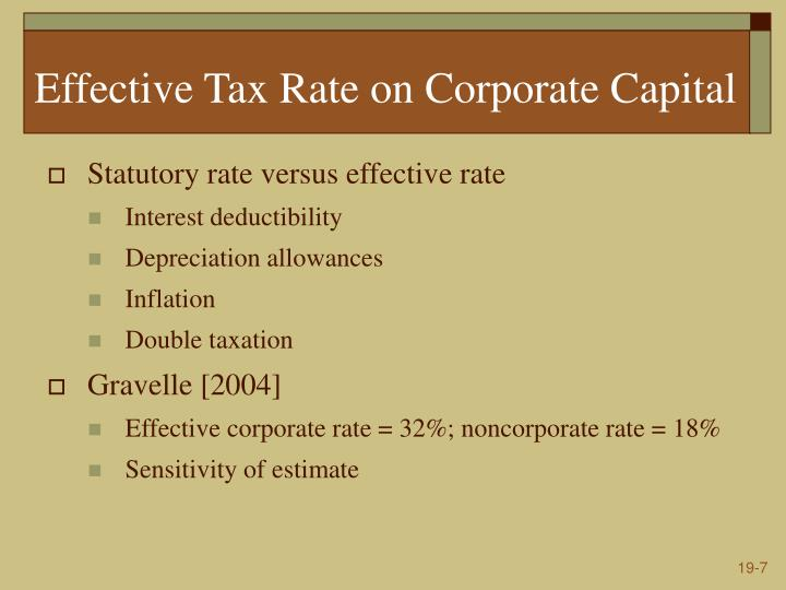 Effective Tax Rate on Corporate Capital