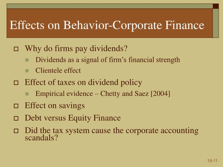 Effects on Behavior-Corporate Finance