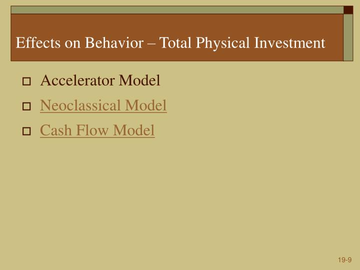 Effects on Behavior – Total Physical Investment