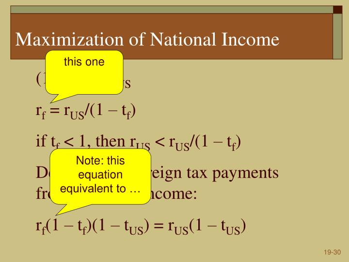 Maximization of National Income