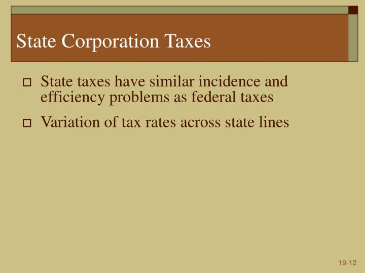 State Corporation Taxes