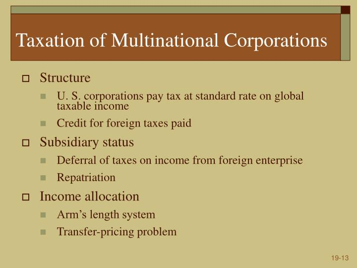 Taxation of Multinational Corporations