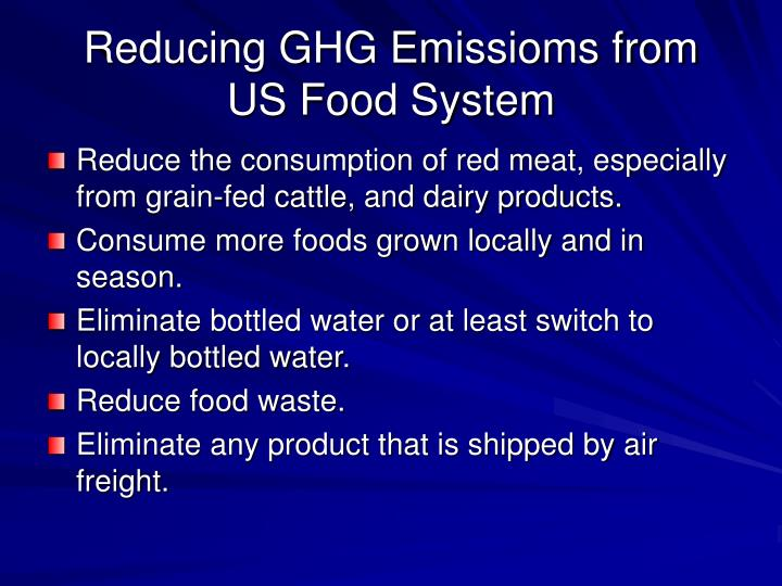 Reducing GHG Emissioms from US Food System