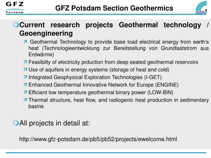 GFZ Potsdam Section Geothermics