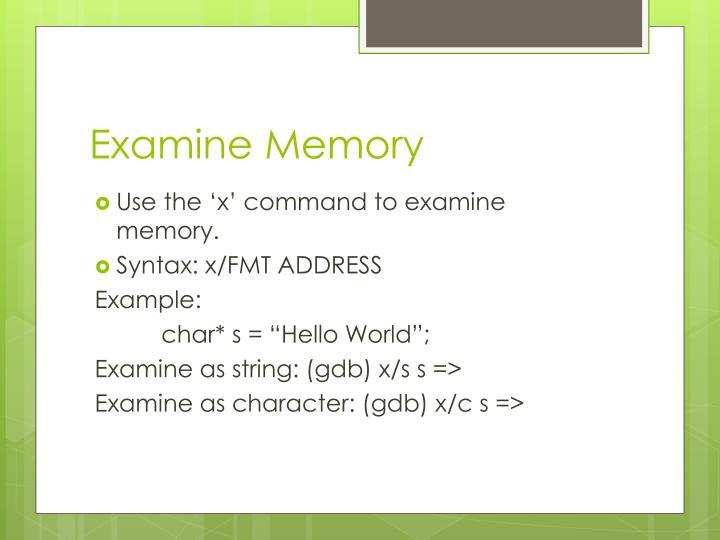 Examine Memory