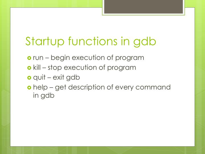 Startup functions in