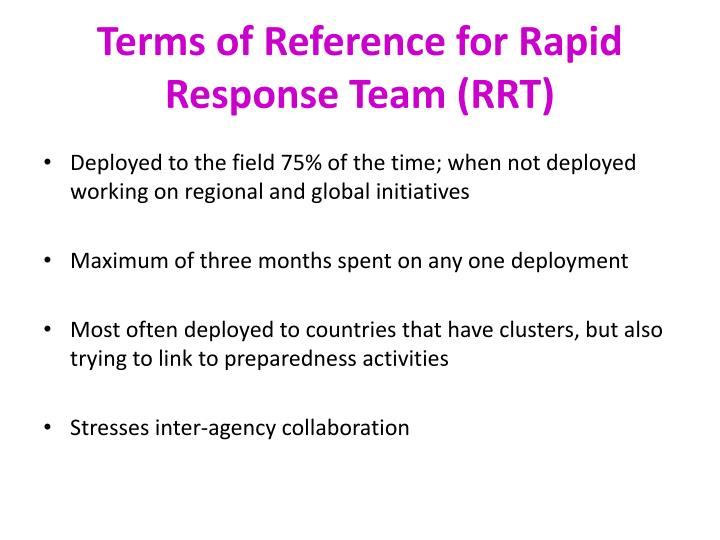 Terms of Reference for Rapid Response Team (RRT)