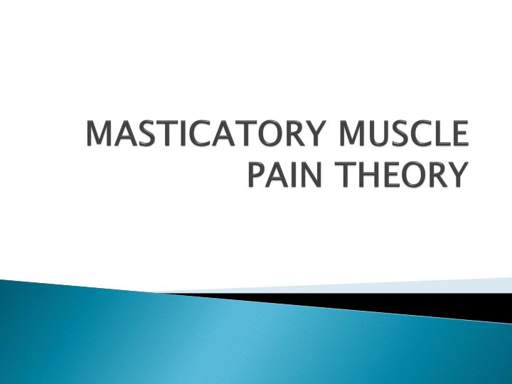 masticatory muscle pain theory