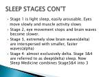 sleep stages con t