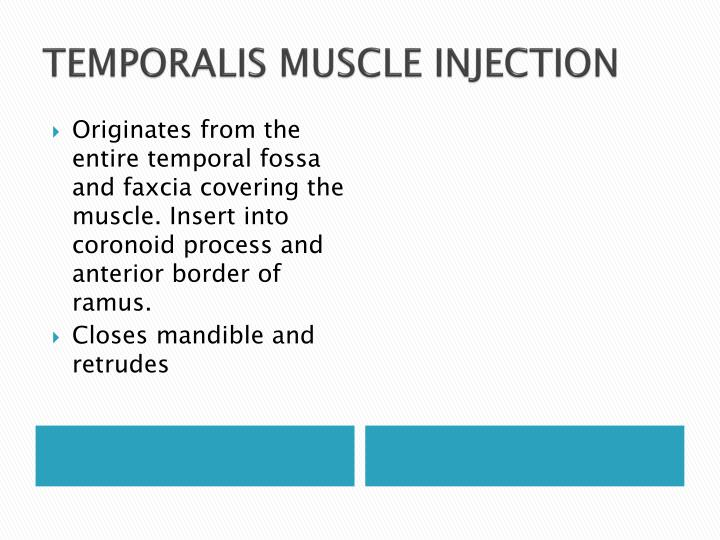 TEMPORALIS MUSCLE INJECTION