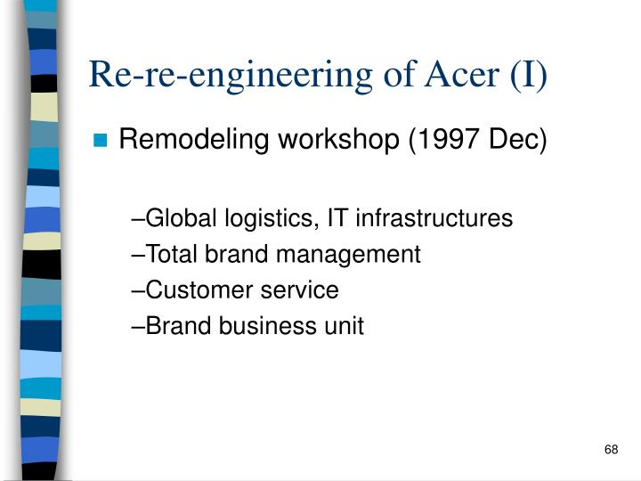 Re-re-engineering of Acer (I)